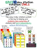 Owl Station rotation for centers! Easy & INDEPENDENT! 5 days