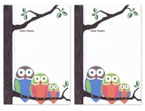 Owl Stationary- Parent Note