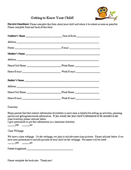 Owl Student Info Form