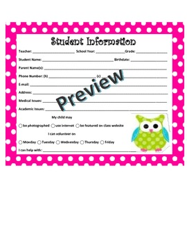 Owl Student Information Card