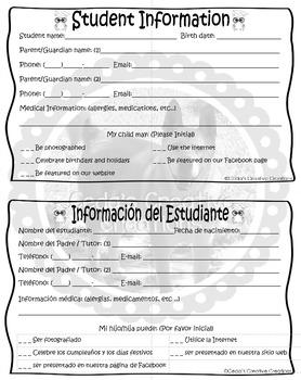 Owl Student Information Sheet English-Spanish