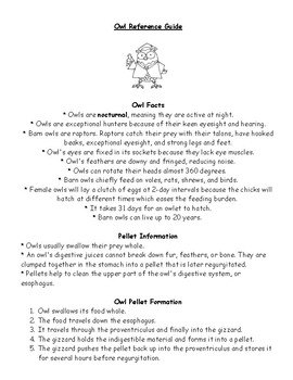 Owl Study Guide Reference Sheet Facts Biology Life Science Pellet Information