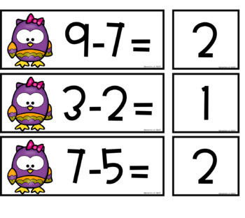 Owl Subtraction Facts for Pocket Chart