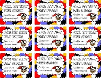Owl Superhero Themed Reward Coupons