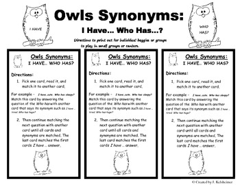 Synonyms: I Have... Who Has? (Owl Cards)