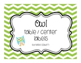 Owl Table & Center Labels