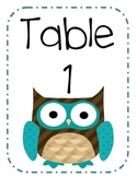 Owl Table Numbers Blue Brown