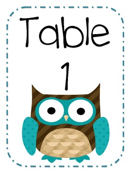 Owl Table Numbers Blue Brown