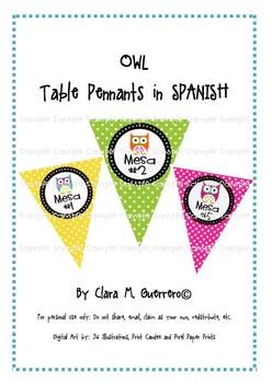 Owl Table Pennants in SPANISH