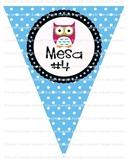 Owl Table Pennants in SPANISH