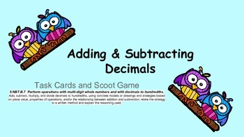 Owl Task Cards & Scoot Game for Addition & Subtraction of Decimals