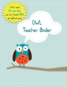 Teacher Binder - Owl