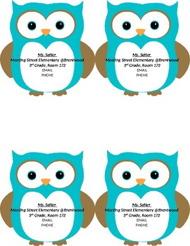 Owl Teacher Contact Cards