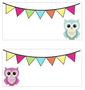 Owl Teacher Toolbox Editable Labels