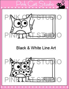 Owl Clip Art - Owl Teaches at the Blackboard Clip Art - Commercial Use