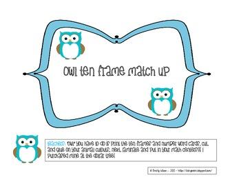 Owl Ten Frame Match Up