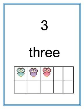 Owl Ten Frame Posters 0-10