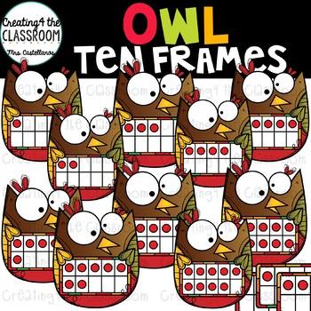 Owl Ten Frames Clip Art {Owl Clip Art}