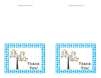 Thank You Cards Owl Theme