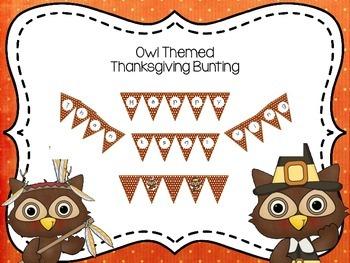 Owl Thanksgiving Bunting