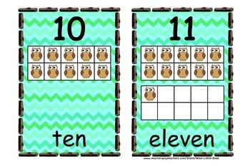 Owl Theme 10 Frames ~ Chevron Pattern ~ Math Ten Frames