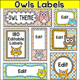 Owl Theme Editable Classroom Labels and Templates