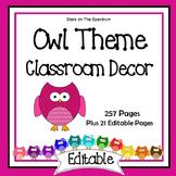 Owl Classroom Decor EDITABLE (Owl Classroom Theme Decor)
