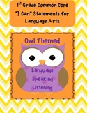 Owl Theme 1st CCSS I Can Statements Language Arts Listening, Speaking, Language