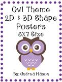 Owl Theme 2D & 3D Shapes Posters {5X7 Size}