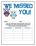 Owl Theme Absent Student Missed Work Form