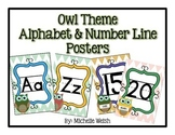 Owl Theme Alphabet & Number Line Posters
