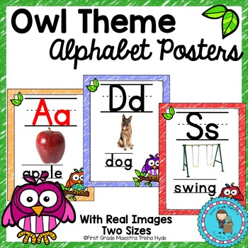 Owl Theme Alphabet Posters with real images