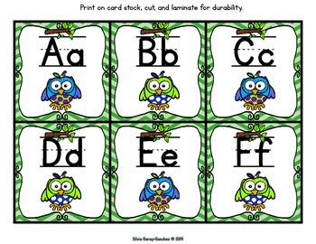 Owl Theme Alphabet and Word Wall Letter Cards