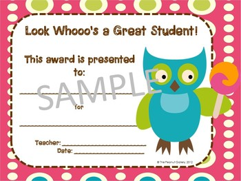 """Owl Theme Awards: """"Look Whooo's a Great Student!"""""""