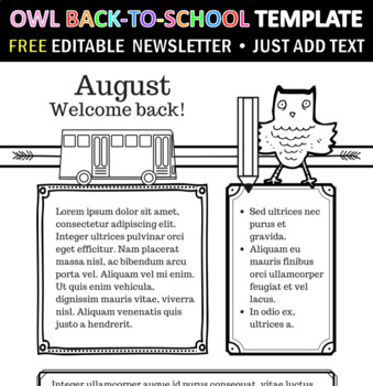 Owl Theme Back to School Editable Newsletter Template