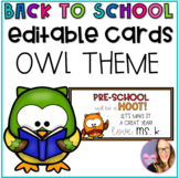 Editable Owl Cards for Back to School