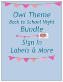 Owl Theme Back to School Night Meet the Teacher Sign In Paperwork Supply Labels