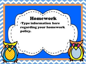 Owl Theme- Back to School Open House PPT- Editable