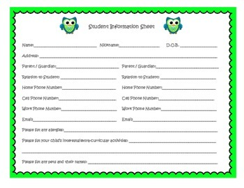 Owl Theme Beginning of Year Forms