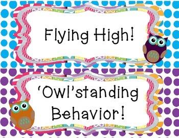 Owl Theme Behavior Clipchart Freebie