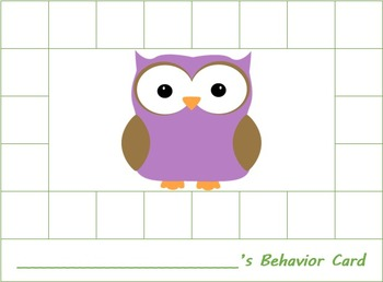 Owl Theme Behavior Punch Cards