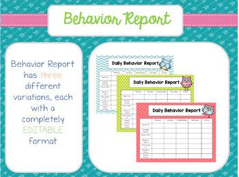 Owl Theme Behavior Report & Clip Chart BUNDLE