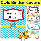 Owl Theme Editable Teacher Binder Covers