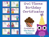 Owl Theme Birthday Certificates