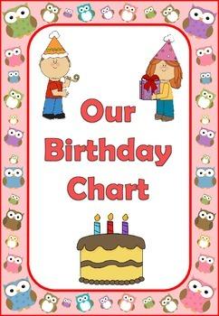 Owl Theme Birthday Chart