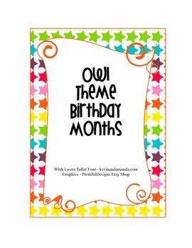 Owl Theme Birthday Months