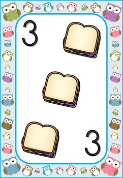 Owl Theme Blue Border Number Posters