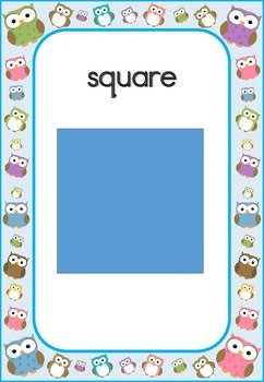 Owl Theme Blue Border Shapes Posters