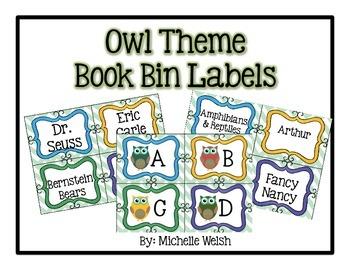 Owl Theme Book Bin Labels