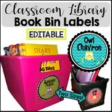 Book Bin Labels for Classroom Library Owl Chevron -EDITABLE-